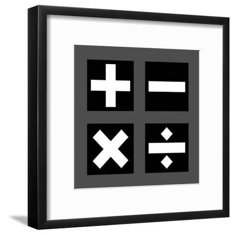 Math Symbols Square - Black-Color Me Happy-Framed Art Print