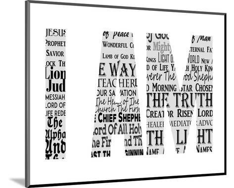 Names of Jesus I AM Silhouette White-Inspire Me-Mounted Art Print