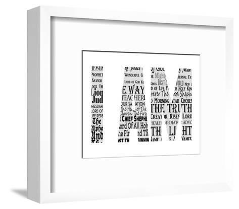Names of Jesus I AM Silhouette White-Inspire Me-Framed Art Print