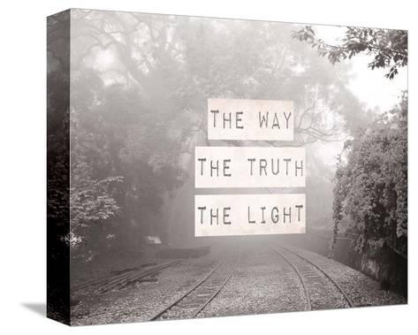 The Way The Truth The Light Railroad Tracks Black and White-Inspire Me-Stretched Canvas Print