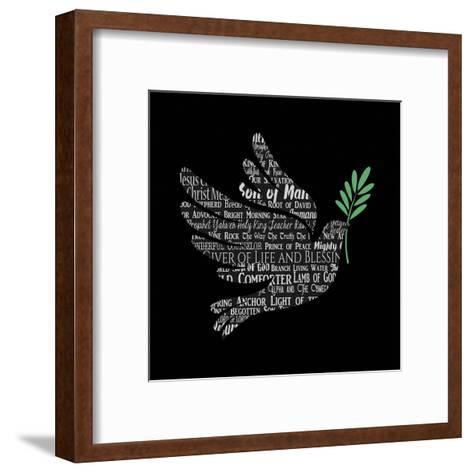 Names of Jesus Dove Silhouette Black-Inspire Me-Framed Art Print