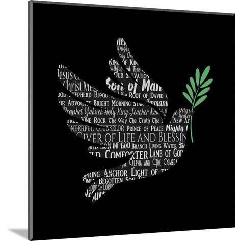 Names of Jesus Dove Silhouette Black-Inspire Me-Mounted Art Print