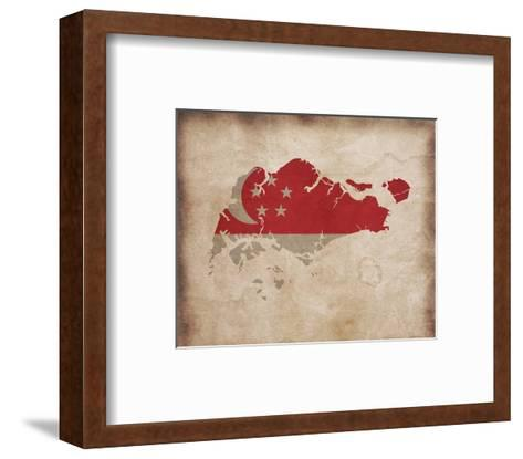 Map with Flag Overlay Singapore-Take Me Away-Framed Art Print