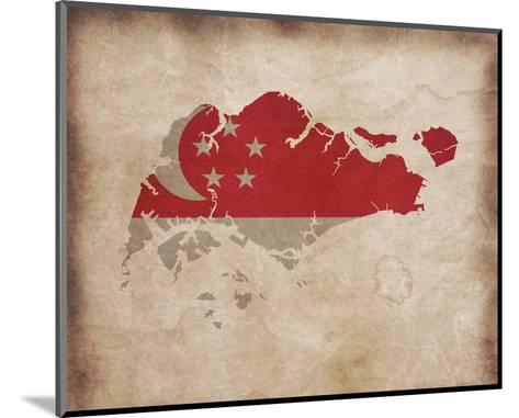 Map with Flag Overlay Singapore-Take Me Away-Mounted Art Print