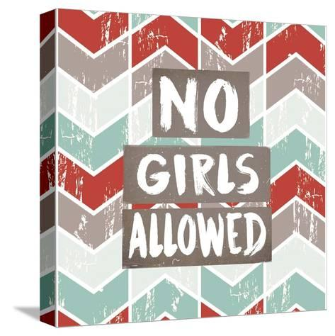 No Girls Allowed Chevron Pattern Red-Color Me Happy-Stretched Canvas Print