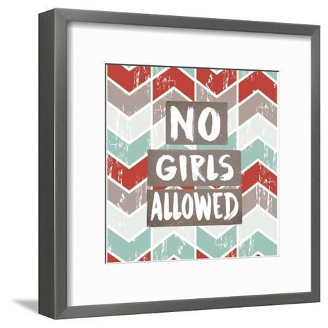 No Girls Allowed Chevron Pattern Red-Color Me Happy-Framed Art Print