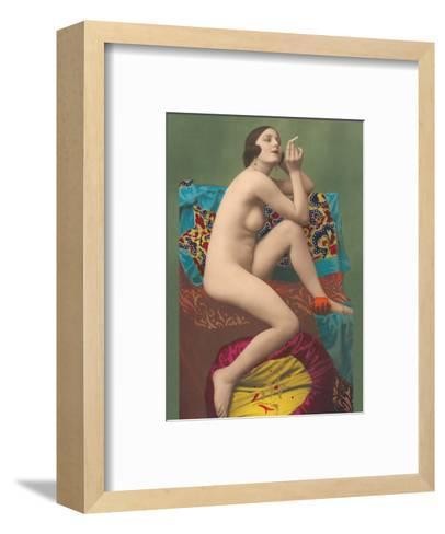 Le Fumeur (The Smoker) - Classic Vintage French Nude - Hand-Colored Tinted Erotic Art-PC Paris Studio-Framed Art Print