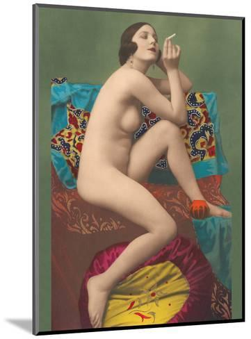 Le Fumeur (The Smoker) - Classic Vintage French Nude - Hand-Colored Tinted Erotic Art-PC Paris Studio-Mounted Art Print