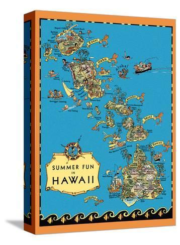 Summer Fun in Hawaii Map - Hawaii Tourist Bureau-Ruth Taylor White-Stretched Canvas Print