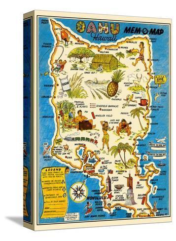 Oahu, Hawaii Mem-O-Map - World War II Military Souvenir Map-John G^ Drury-Stretched Canvas Print
