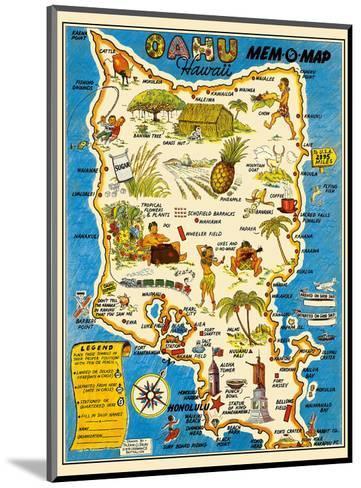Oahu, Hawaii Mem-O-Map - World War II Military Souvenir Map-John G^ Drury-Mounted Art Print