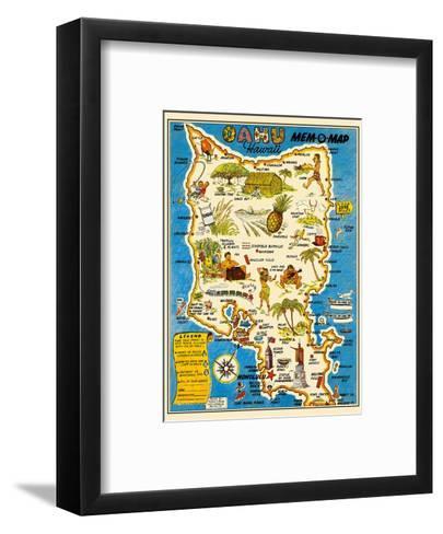 Oahu, Hawaii Mem-O-Map - World War II Military Souvenir Map-John G^ Drury-Framed Art Print