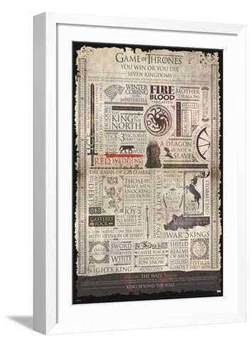 Game Of Thrones- Infographic--Framed Art Print