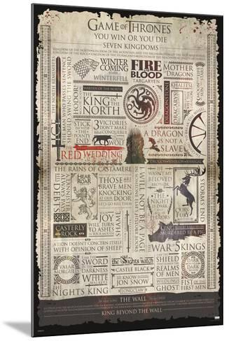 Game Of Thrones- Infographic--Mounted Poster