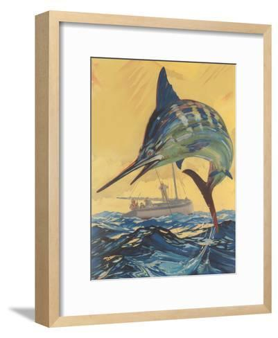 Leaping Marlin-Found Image Press-Framed Art Print