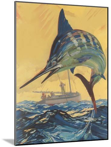 Leaping Marlin-Found Image Press-Mounted Art Print