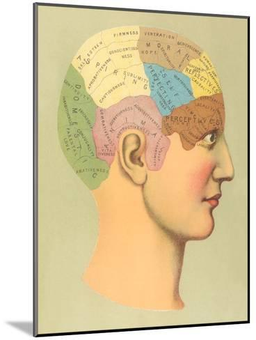 Phrenology Chart-Found Image Press-Mounted Art Print