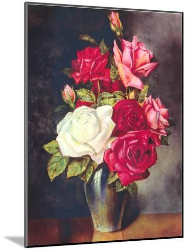 Roses In Vase-Found Image Press-Mounted Art Print