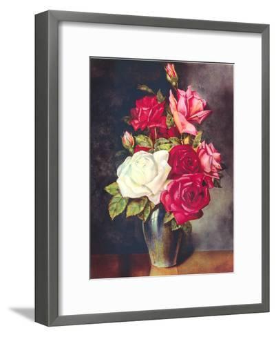 Roses In Vase-Found Image Press-Framed Art Print