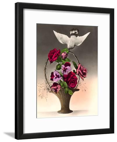 Dove With Bouquet-Found Image Press-Framed Art Print