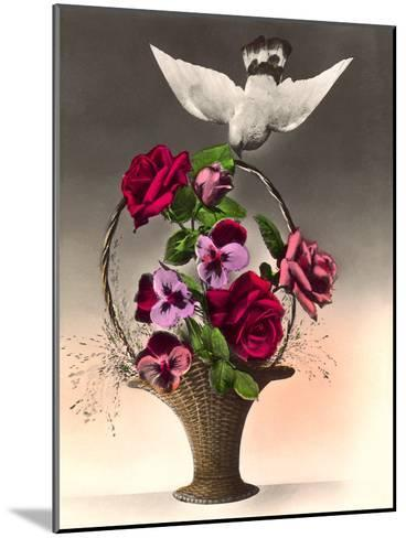 Dove With Bouquet-Found Image Press-Mounted Art Print