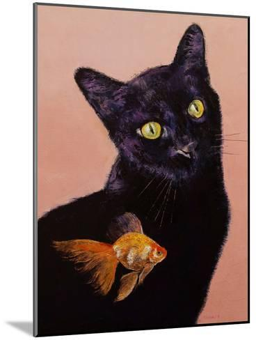 Black Cat And Goldfish-Michael Creese-Mounted Art Print
