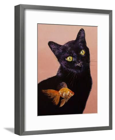 Black Cat And Goldfish-Michael Creese-Framed Art Print