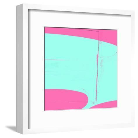 Pink And Cyan Abstract-Kasi Minami-Framed Art Print