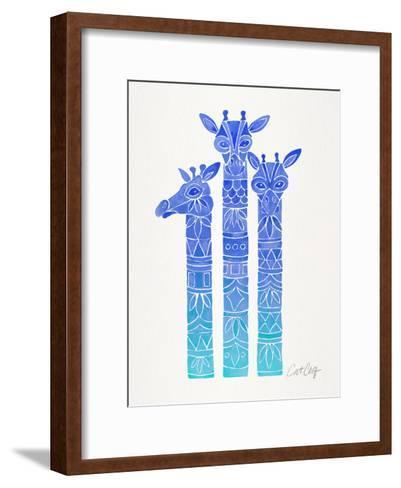 Blue Ombre Giraffes-Cat Coquillette-Framed Art Print