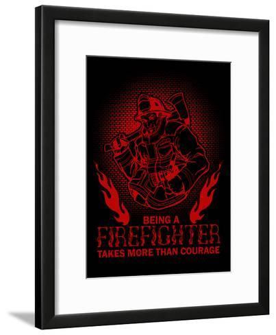 Fireman Firefighter-Wonderful Dream-Framed Art Print