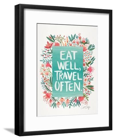 Eat Well Travel Often Floral-Cat Coquillette-Framed Art Print