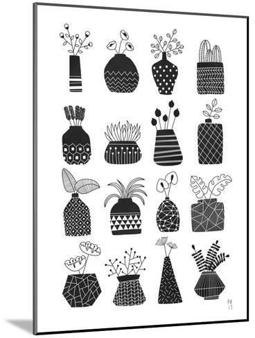 Ornamental Vases Monochrome-Tracie Andrews-Mounted Art Print