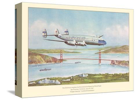 First Commercial Round-the-World Flight - Pan American World Airways - Lockheed Constellation-John T^ McCoy-Stretched Canvas Print