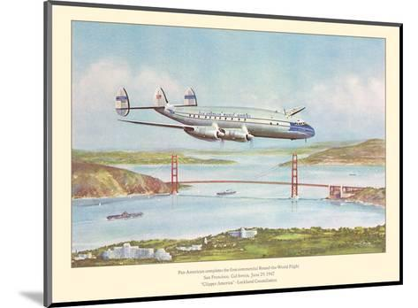 First Commercial Round-the-World Flight - Pan American World Airways - Lockheed Constellation-John T^ McCoy-Mounted Art Print