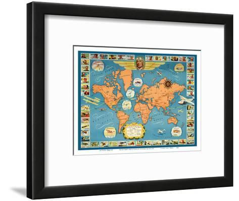 Famous Flights and Air Routes of the World - Charles Lindbergh-Pacifica Island Art-Framed Art Print