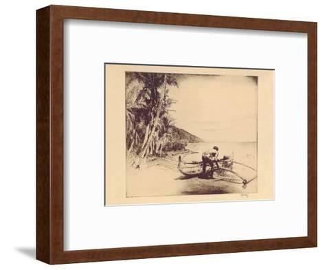 Old Hawaii - Hawaiian in Outrigger Canoe (Wa?a)-John Melville Kelly-Framed Art Print