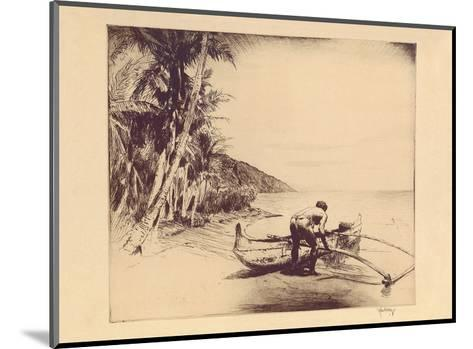 Old Hawaii - Hawaiian in Outrigger Canoe (Wa?a)-John Melville Kelly-Mounted Art Print