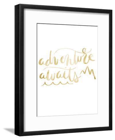 Gold Adventure Awaits Typography-Jetty Printables-Framed Art Print