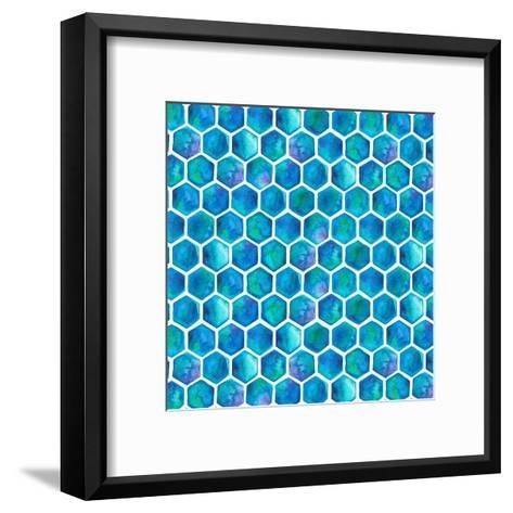 Blue Hexagons-Elena O'Neill-Framed Art Print