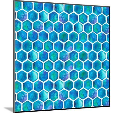 Blue Hexagons-Elena O'Neill-Mounted Art Print