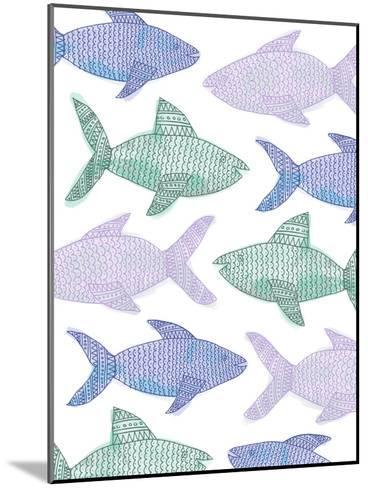 Tribal Fish Pattern Pastel-Jetty Printables-Mounted Art Print
