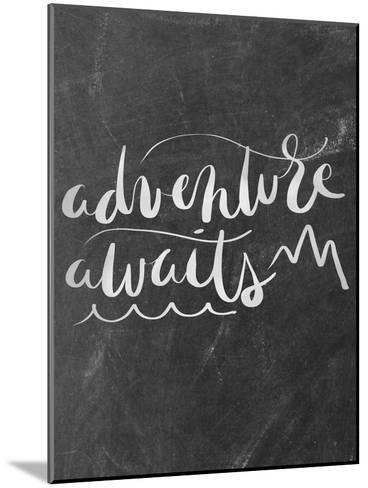Silver Chalkboard Adventure Awaits Typography-Jetty Printables-Mounted Art Print