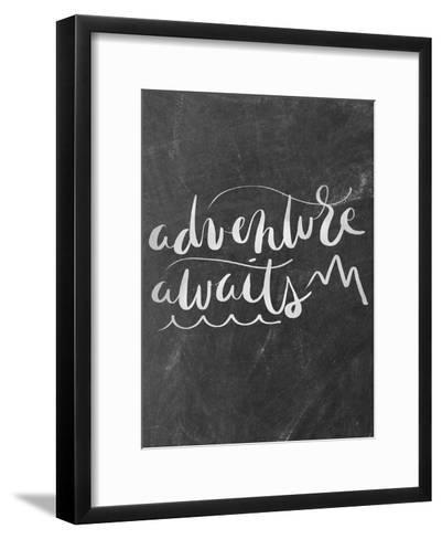 Silver Chalkboard Adventure Awaits Typography-Jetty Printables-Framed Art Print
