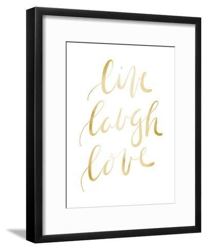 Gold Live Laugh Love Typography-Jetty Printables-Framed Art Print