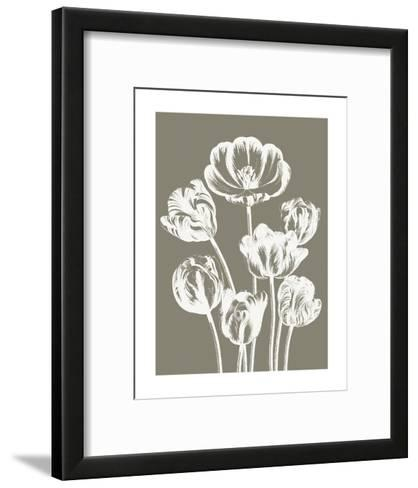 Tulips (Burlap & Ivory)-Botanical Series-Framed Art Print