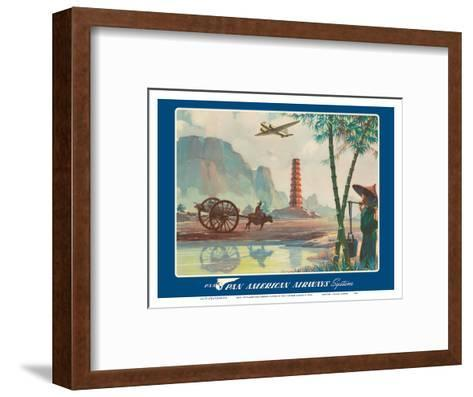 Asia - Wings Over the World - Pan American Airways System - Chinese Pagoda-Paul George Lawler-Framed Art Print