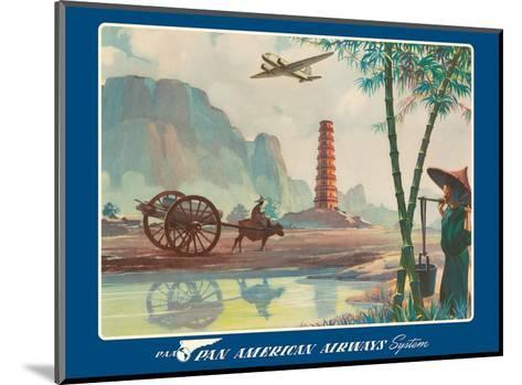 Asia - Wings Over the World - Pan American Airways System - Chinese Pagoda-Paul George Lawler-Mounted Art Print
