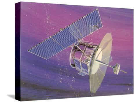 Satellitte With Solar Panels-Found Image Press-Stretched Canvas Print