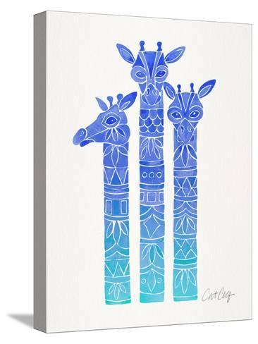 Blue Ombre Giraffes-Cat Coquillette-Stretched Canvas Print