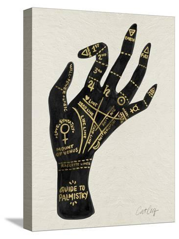 Palmistry Black And Gold-Cat Coquillette-Stretched Canvas Print